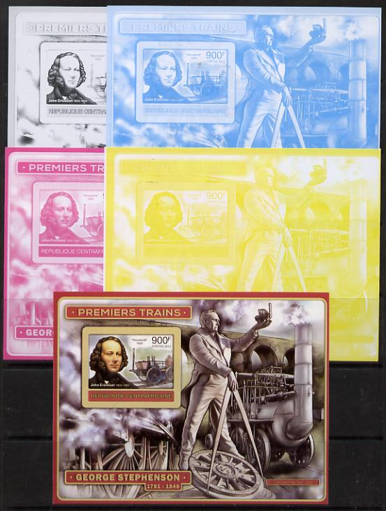 Central African Republic 2012 Early Trains - John Ericsson deluxe sheet - the set of 5 imperf progressive proofs comprising the 4 individual colours plus all 4-colour composite, unmounted mint