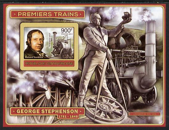 Central African Republic 2012 Early Trains - Richard Trevithick imperf deluxe sheet unmounted mint. Note this item is privately produced and is offered purely on its thematic appeal