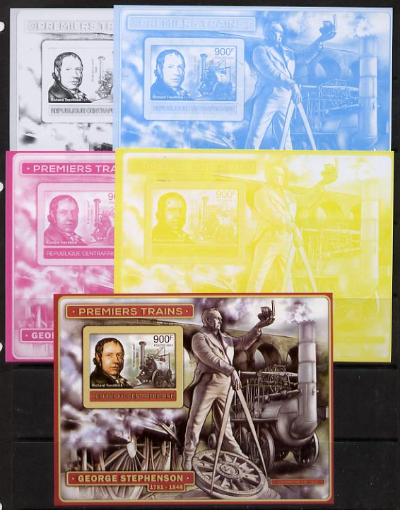 Central African Republic 2012 Early Trains - Richard Trevithick deluxe sheet - the set of 5 imperf progressive proofs comprising the 4 individual colours plus all 4-colour composite, unmounted mint
