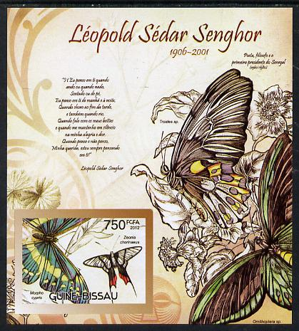 Guinea - Bissau 2012 Commemorating Leopold Sedar Senghor - Butterflies #2 imperf deluxe sheet unmounted mint. Note this item is privately produced and is offered purely on its thematic appeal