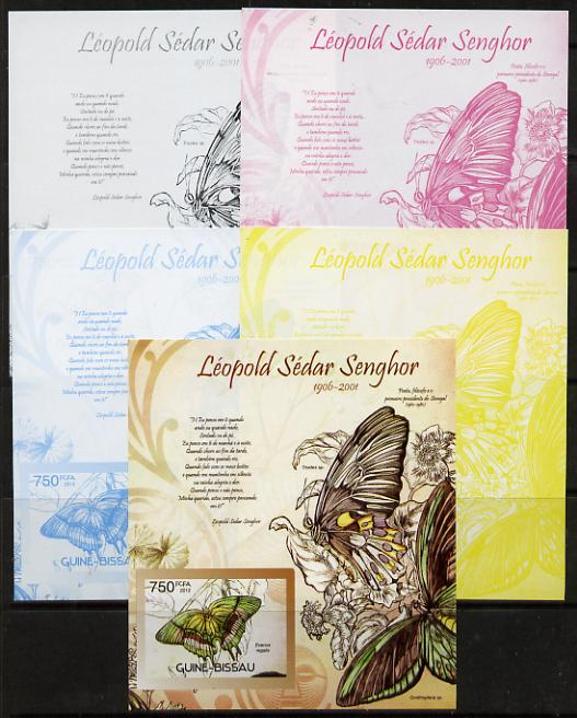 Guinea - Bissau 2012 Commemorating Leopold Sedar Senghor - Butterflies #3 deluxe sheet - the set of 5 imperf progressive proofs comprising the 4 individual colours plus all 4-colour composite, unmounted mint