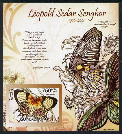 Guinea - Bissau 2012 Commemorating Leopold Sedar Senghor - Butterflies #4 imperf deluxe sheet unmounted mint. Note this item is privately produced and is offered purely on its thematic appeal