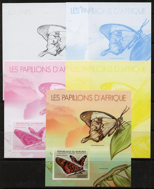 Burundi 2012 Butterflies #3 deluxe sheet - the set of 5 imperf progressive proofs comprising the 4 individual colours plus all 4-colour composite, unmounted mint