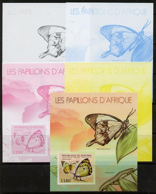 Burundi 2012 Butterflies #4 deluxe sheet - the set of 5 imperf progressive proofs comprising the 4 individual colours plus all 4-colour composite, unmounted mint