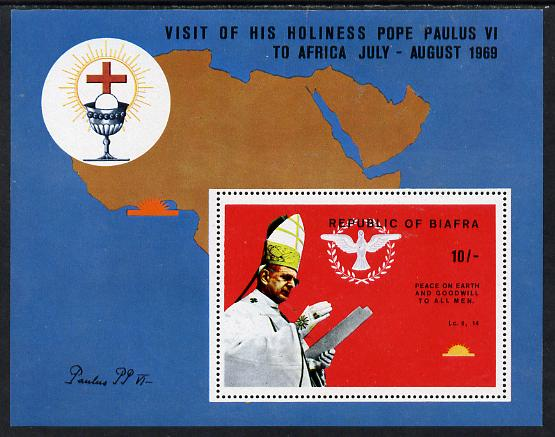 Nigeria - Biafra 1969 Visit of Pope Paul 10s perf m/sheet unmounted mint (see note after SG 42), stamps on pope, stamps on popes, stamps on maps