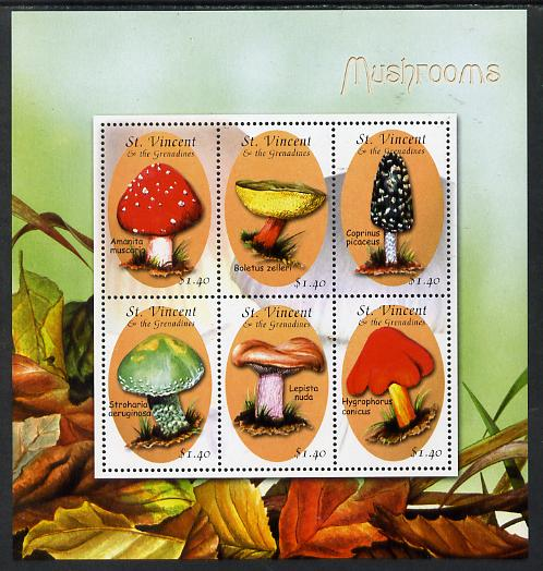 St Vincent 2001 Fungi perf sheetlet containing 6 values unmounted mint SG 4837-42