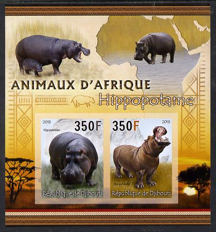 Djibouti 2013 Animals of Africa - Hippos imperf sheetlet containing 2 values unmounted mint