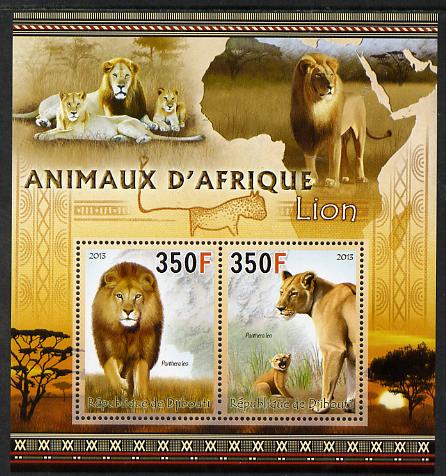 Djibouti 2013 Animals of Africa - Lions perf sheetlet containing 2 values unmounted mint