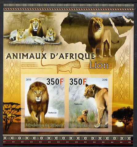 Djibouti 2013 Animals of Africa - Lions imperf sheetlet containing 2 values unmounted mint