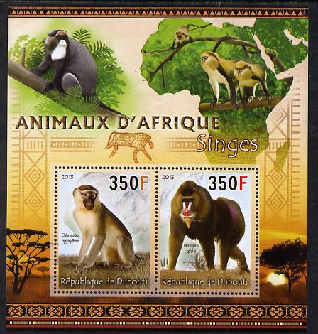 Djibouti 2013 Animals of Africa - Monkeys perf sheetlet containing 2 values unmounted mint