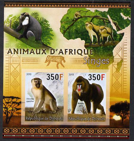 Djibouti 2013 Animals of Africa - Monkeys imperf sheetlet containing 2 values unmounted mint