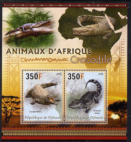 Djibouti 2013 Animals of Africa - Crocodiles perf sheetlet containing 2 values unmounted mint