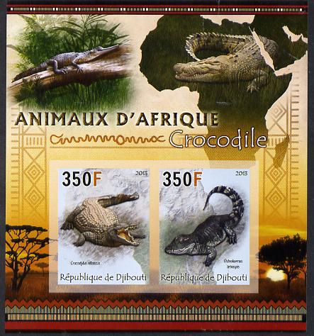Djibouti 2013 Animals of Africa - Crocodiles imperf sheetlet containing 2 values unmounted mint, stamps on maps, stamps on animals, stamps on crocodiles, stamps on reptiles