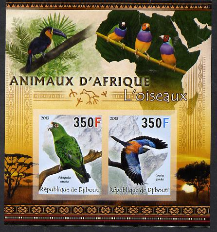 Djibouti 2013 Animals of Africa - Birds #2 imperf sheetlet containing 2 values unmounted mint