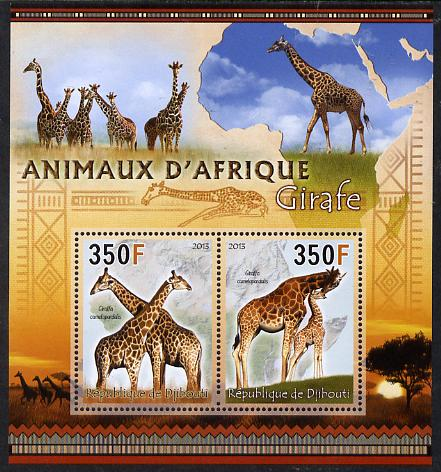 Djibouti 2013 Animals of Africa - Giraffes perf sheetlet containing 2 values unmounted mint