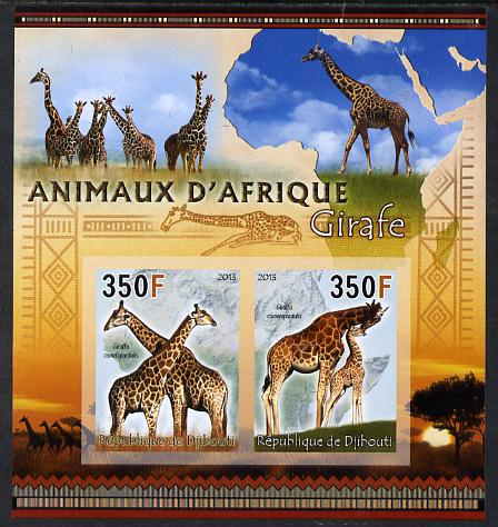 Djibouti 2013 Animals of Africa - Giraffes imperf sheetlet containing 2 values unmounted mint
