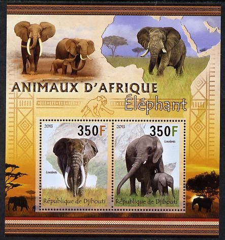 Djibouti 2013 Animals of Africa - Elephants perf sheetlet containing 2 values unmounted mint
