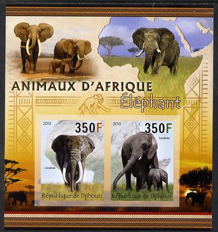 Djibouti 2013 Animals of Africa - Elephants imperf sheetlet containing 2 values unmounted mint