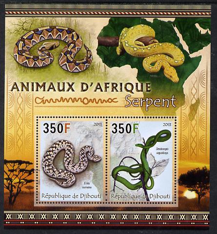 Djibouti 2013 Animals of Africa - Snakes perf sheetlet containing 2 values unmounted mint