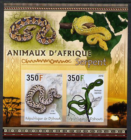 Djibouti 2013 Animals of Africa - Snakes imperf sheetlet containing 2 values unmounted mint