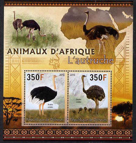 Djibouti 2013 Animals of Africa - Ostriches perf sheetlet containing 2 values unmounted mint