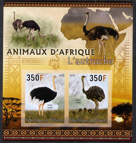Djibouti 2013 Animals of Africa - Ostriches imperf sheetlet containing 2 values unmounted mint