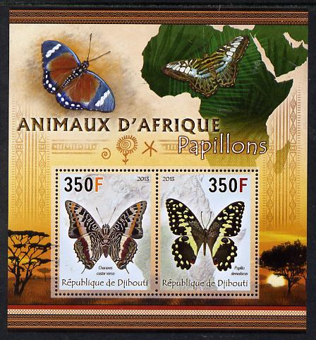 Djibouti 2013 Animals of Africa - Butterflies #1 perf sheetlet containing 2 values unmounted mint