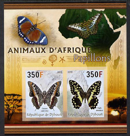 Djibouti 2013 Animals of Africa - Butterflies #1 imperf sheetlet containing 2 values unmounted mint