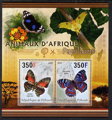 Djibouti 2013 Animals of Africa - Butterflies #2 perf sheetlet containing 2 values unmounted mint
