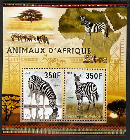 Djibouti 2013 Animals of Africa - Zebras perf sheetlet containing 2 values unmounted mint