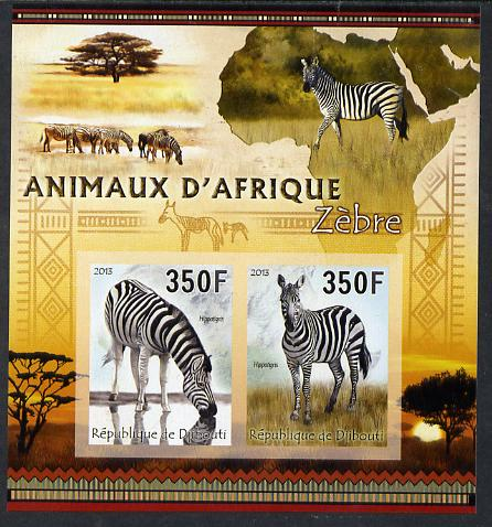 Djibouti 2013 Animals of Africa - Zebras imperf sheetlet containing 2 values unmounted mint