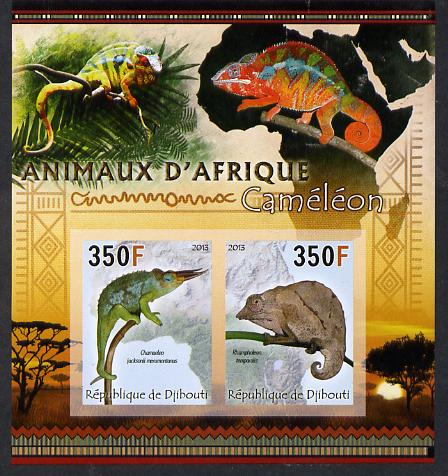 Djibouti 2013 Animals of Africa - Chameleons imperf sheetlet containing 2 values unmounted mint