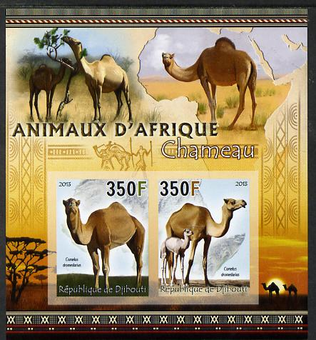 Djibouti 2013 Animals of Africa - Camels imperf sheetlet containing 2 values unmounted mint, stamps on maps, stamps on animals, stamps on camels