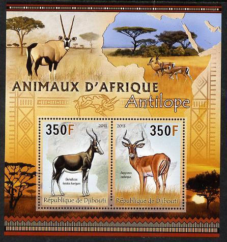Djibouti 2013 Animals of Africa - Antelopes perf sheetlet containing 2 values unmounted mint