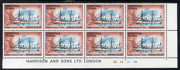 Christmas Island 1972-73 Ships - 2c HMS Redpole SE corner block of 8 with Harrison & Sons imprint & cyl nos 1A x 4 unmounted mint but minor wrinkles in margin as SG 38, stamps on ships