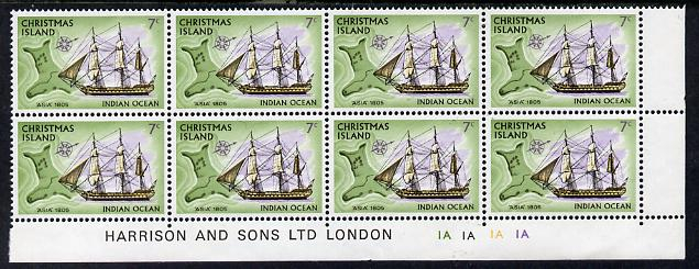 Christmas Island 1972-73 Ships - 7c Asia SE corner block of 8 with Harrison & Sons imprint & cyl nos 1A x 4 unmounted mint but minor wrinkles in margin as SG 43