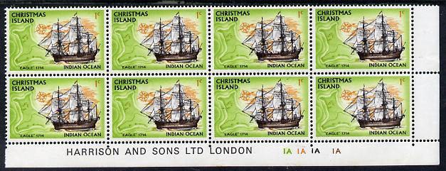 Christmas Island 1972-73 Ships - 1c Eagle SE corner block of 8 with Harrison & Sons imprint & cyl nos 1A x 4 unmounted mint but minor wrinkles in margin as SG 37