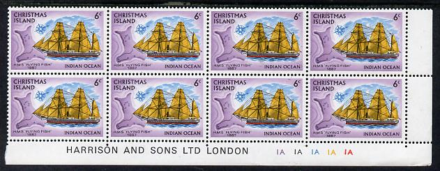 Christmas Island 1972-73 Ships - 6c HMS Flying Fish SE corner block of 8 with Harrison & Sons imprint & cyl nos 1A x 5 unmounted mint but minor wrinkles in margin as SG 42
