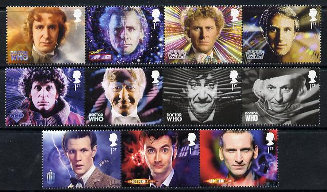 Great Britain 2013 Doctor Who perf set of 11 values unmounted mint