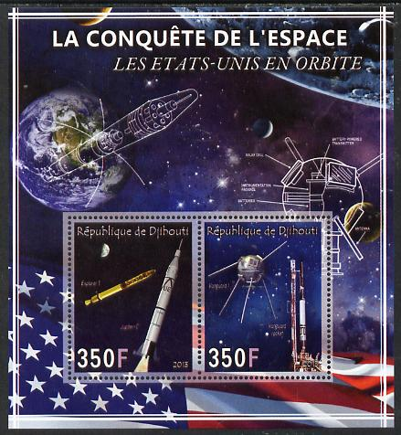 Djibouti 2013 Conquest of Space - Early US Orbits perf sheetlet containing 2 values unmounted mint