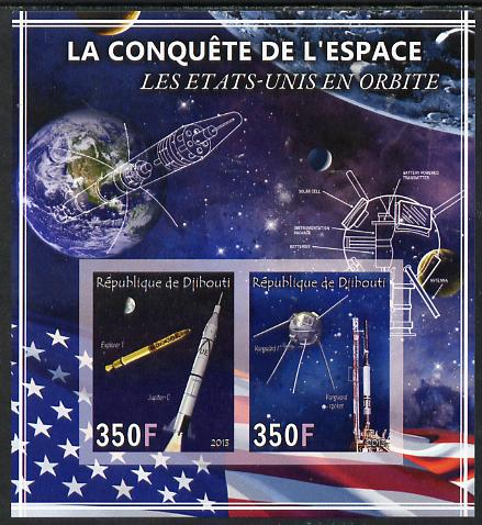 Djibouti 2013 Conquest of Space - Early US Orbits imperf sheetlet containing 2 values unmounted mint