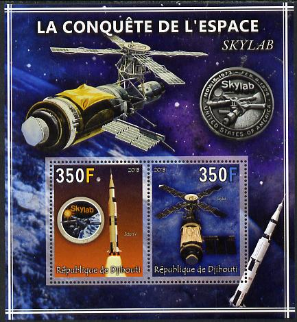 Djibouti 2013 Conquest of Space - Skylab perf sheetlet containing 2 values unmounted mint