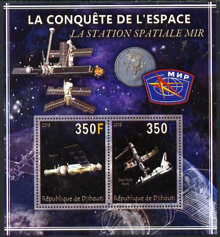 Djibouti 2013 Conquest of Space - Space Station Mir perf sheetlet containing 2 values unmounted mint