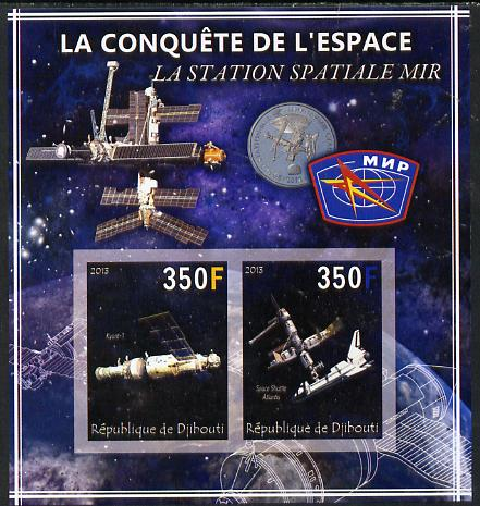 Djibouti 2013 Conquest of Space - Space Station Mir imperf sheetlet containing 2 values unmounted mint