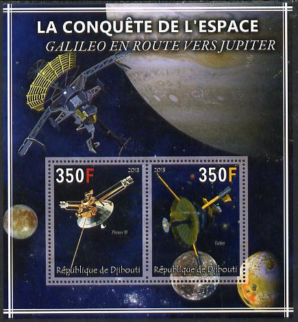 Djibouti 2013 Conquest of Space - Galileo on route to Jupiter perf sheetlet containing 2 values unmounted mint