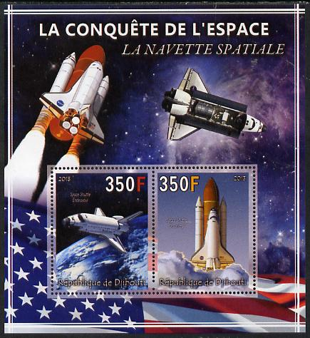 Djibouti 2013 Conquest of Space - Space Shuttle perf sheetlet containing 2 values unmounted mint