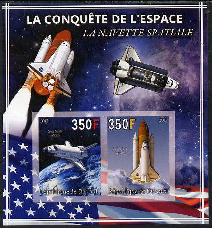 Djibouti 2013 Conquest of Space - Space Shuttle imperf sheetlet containing 2 values unmounted mint