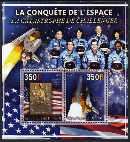 Djibouti 2013 Conquest of Space - The Challenger Disaster perf sheetlet containing 2 values unmounted mint
