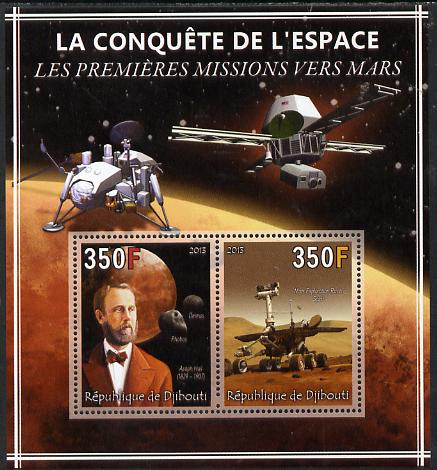 Djibouti 2013 Conquest of Space - First Missions to Mars perf sheetlet containing 2 values unmounted mint