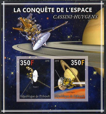 Djibouti 2013 Conquest of Space - Cassini-Huygens to Saturn imperf sheetlet containing 2 values unmounted mint